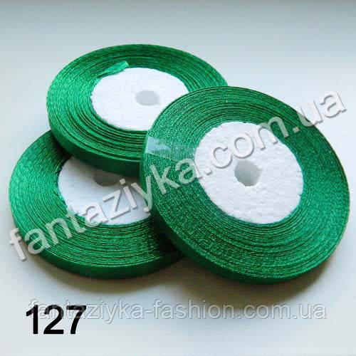Лента атласная тонкая 0,6 см, лесная зелень 127