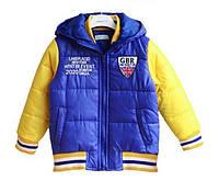 Детская куртка - евро зима, голубая с желтыми рукавами