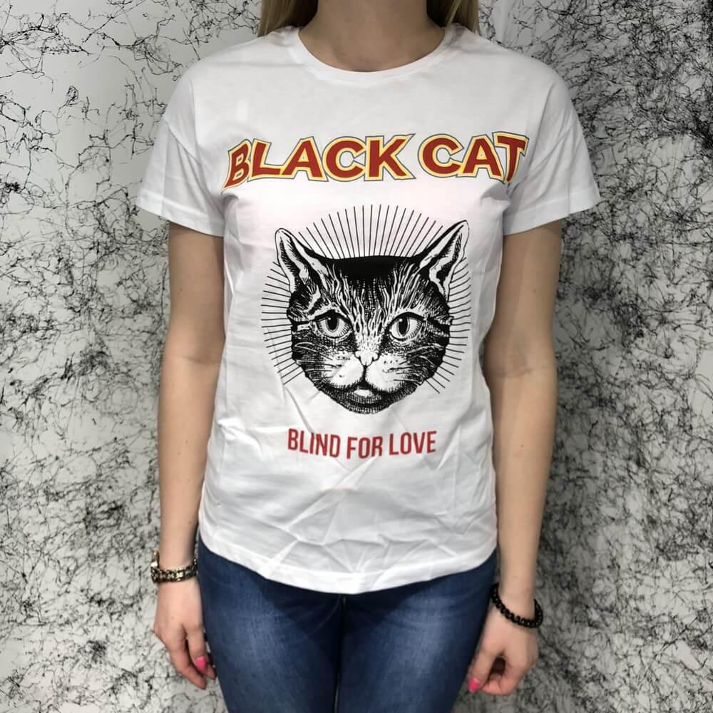 Футболка женская Gucci Cat Blind For Love 18797 белая