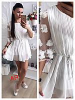 Женское платье с декором по рукаву, в расцветках. АР-20-0618