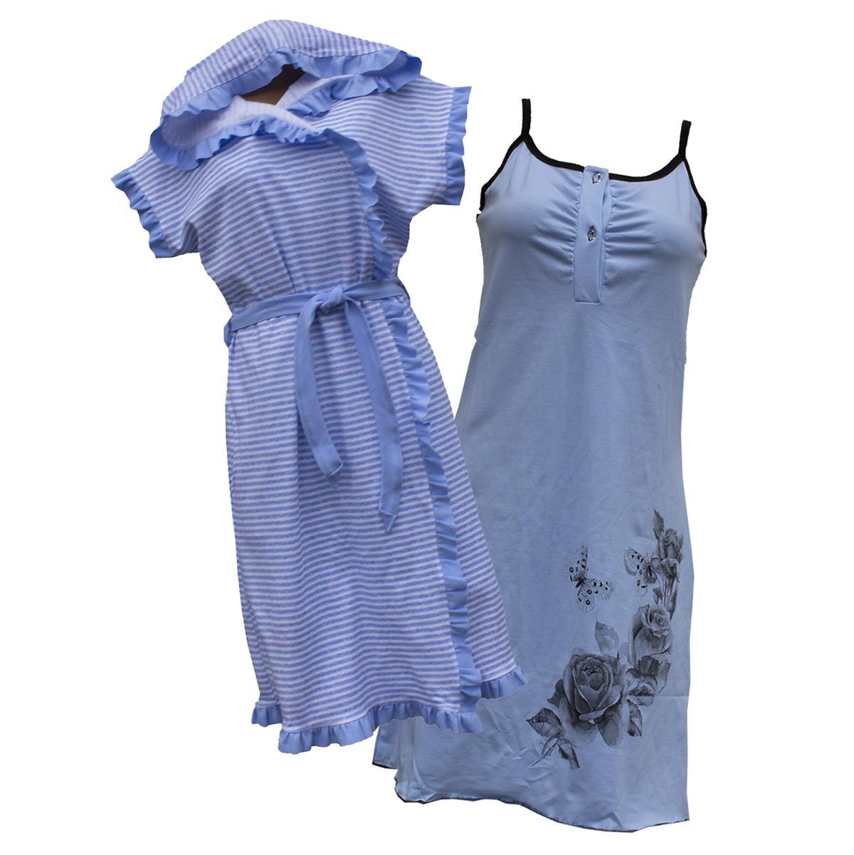 Комплект ночная рубашка + халат интерлок 44-54 р.
