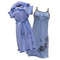 Комплект ночная рубашка + халат интерлок 44-54 р., фото 1