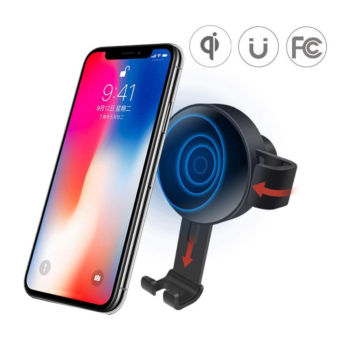 Держатель + беспроводное зарядное устройство в авто для Galaxy и Iphone