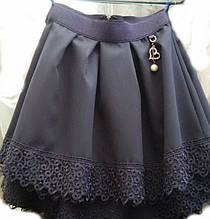 Стильная расклешенная юбка в складку для девочки, р. 134-152