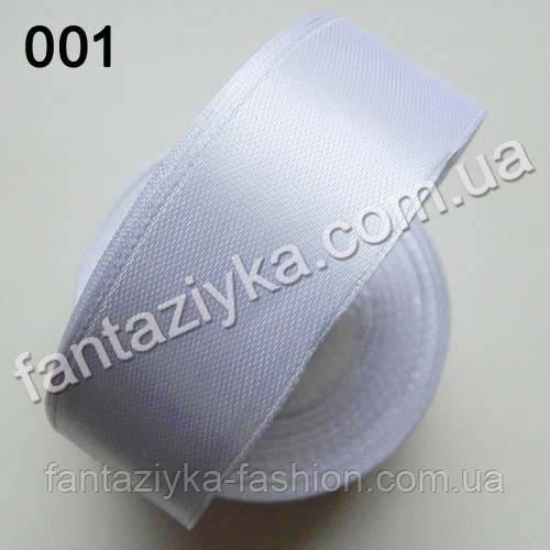 Лента атласная для канзаши 2,5 см, белая 001