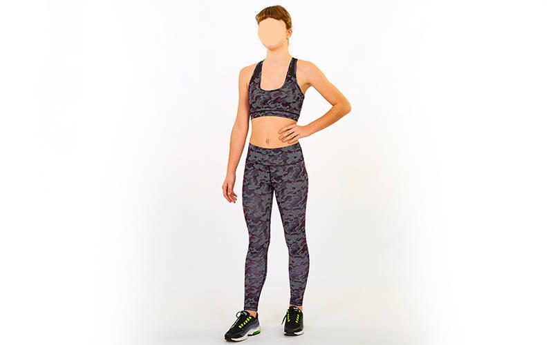 Комплект для фитнеса: лосины+топ MILITARY CO-7150 (лайкра, р-р M-L-44-48, бордо)