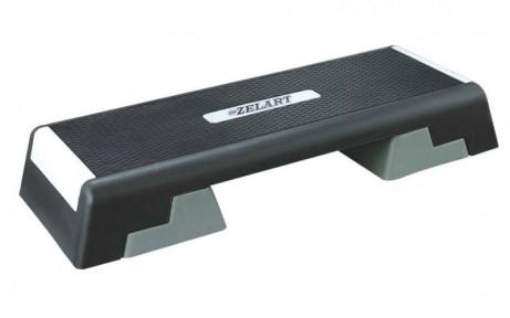 Степ-платформа ZEL FI-4734 (пластик, покриття TPR, р-р 98Lx38Wx15H+5+5 см, чорний-сірий)