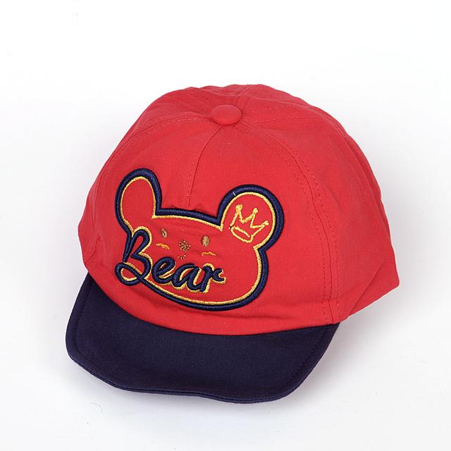 Кепка для мальчика Bear, красный, козырек гнется (ОГ 46-48)