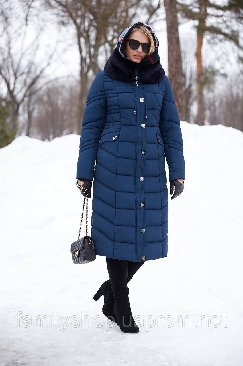 Длинное зимнее пальто с мехом мутона Дайкири