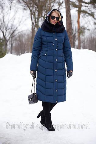 Длинное зимнее пальто с мехом мутона Дайкири, фото 2