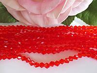 Бусины хрустальные 4х3 мм, биконус, 105-110 шт, цвет красный