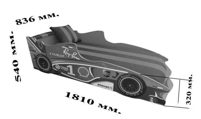 Кровать детская машинка серии Формула 1 (F2) размеры