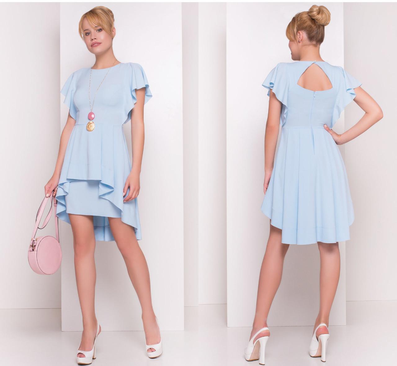 11e38021ccf Голубое платье с баской удлиненной сзади  продажа