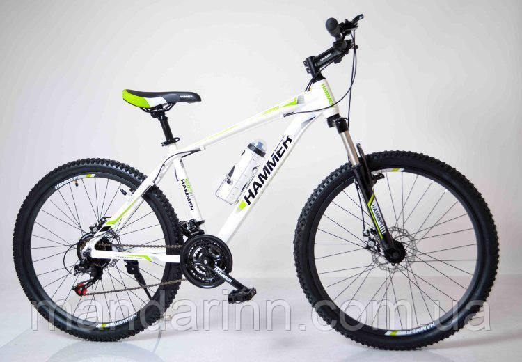 """Велосипед горный 26"""" HAMMER Бело-Салатовый. Алюминиевая легкая рама."""