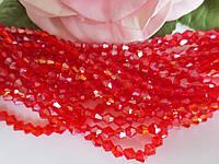 Бусины хрустальные 4х3 мм, биконус, 105-110 шт, цвет красный (АВ напылением)