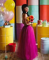 Длинная юбка в пол из фатина цвет малина (фуксия)