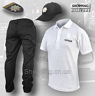 Форма полиции комплект 3в1 Штаны + Футболка поло белая + Бейсболка Patrol Украины, фото 1