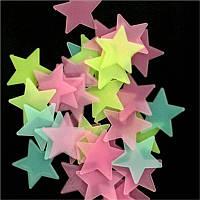 Стикеры звездочки, светящиеся в темноте. МИКС 100 шт