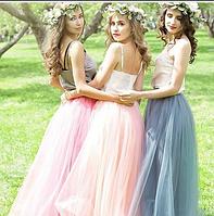 Длинная юбка в пол из евросетки цвет розовый