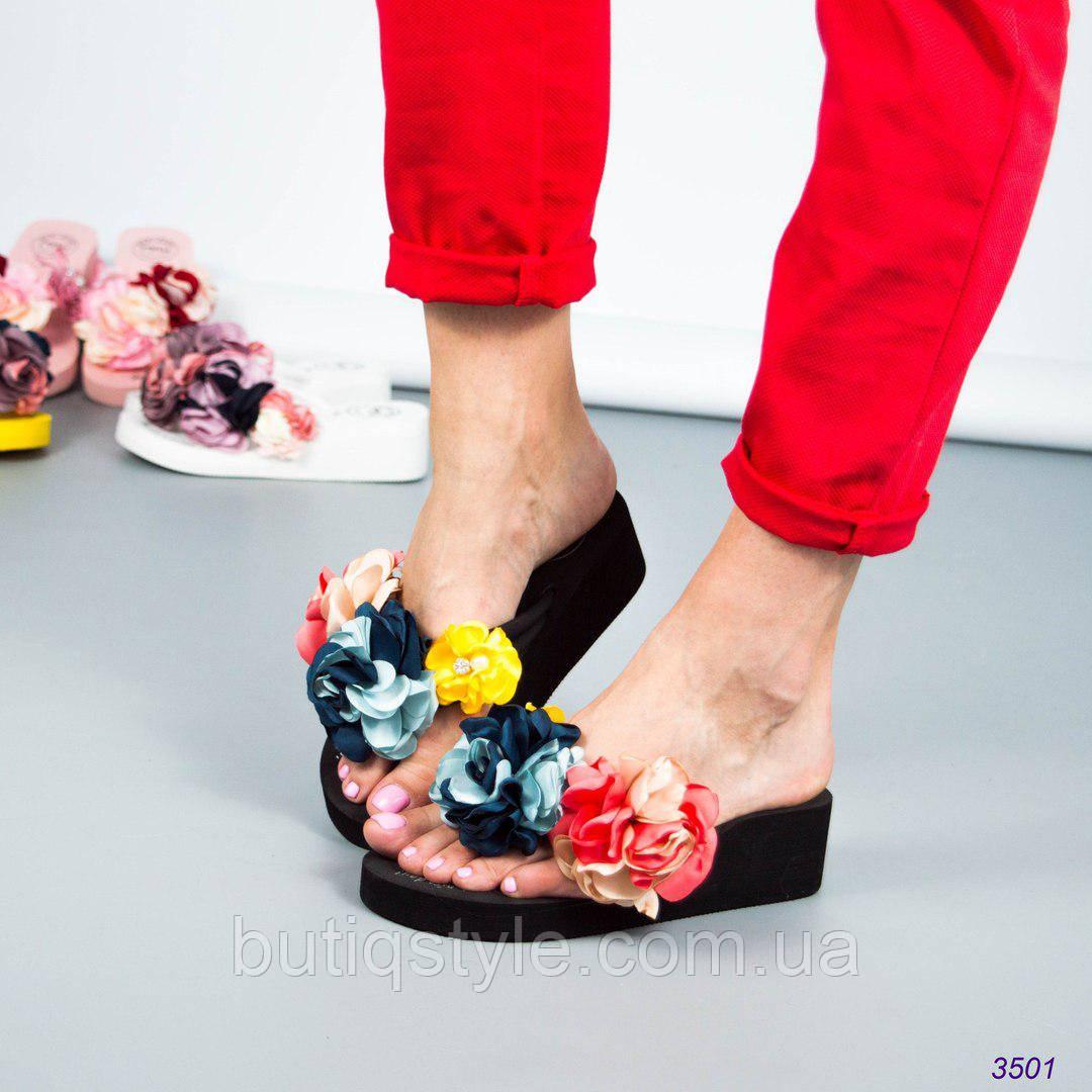 36 размер 23 см! Шлепанцы(вьетнамки) женские на платформе с цветами,текстиль черные