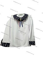 Блуза нарядная школьная декорированная сердечками оптом