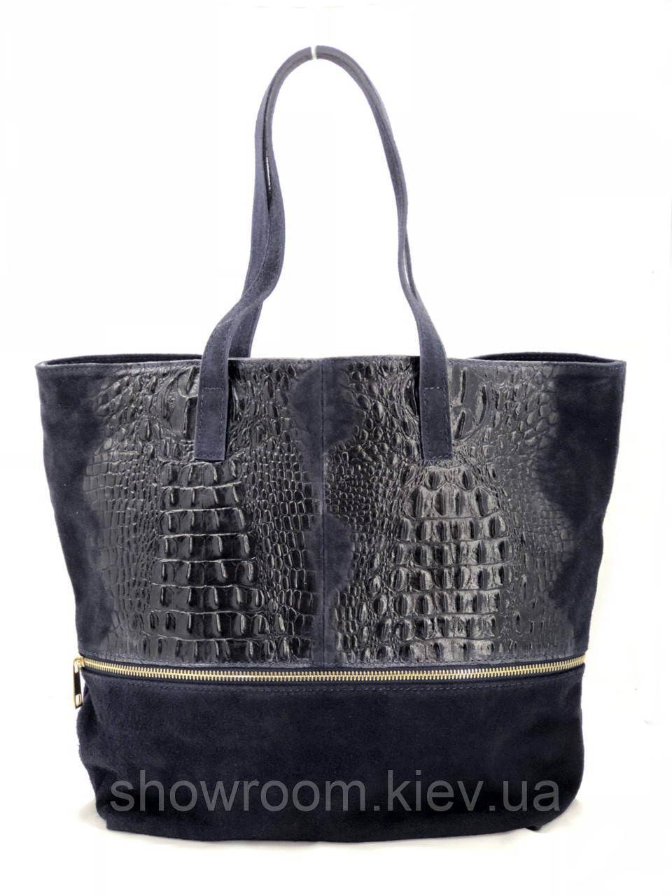 Сумка шоппер женская Vera Pelle (TS 80) кожаная темно синяя