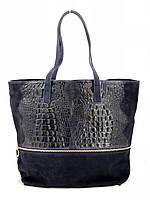 Сумка шоппер женская Vera Pelle (TS 80) кожаная темно синяя, фото 1