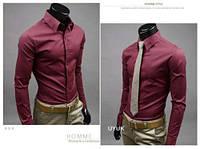 Классическая мужская рубашка slim fit «Classic» (красное вино)