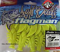 Силиконовый рак Flagman Dexter желтый 76 мм, 5 штук, аромат кальмар
