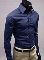 Классическая мужская рубашка slim fit «Classic» (темно-синий)