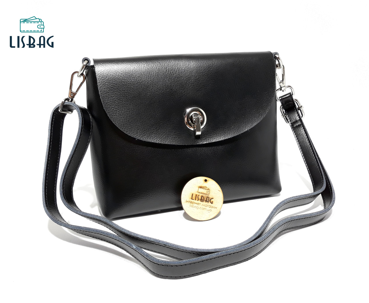 9819a09ce891 Средняя Черная женская кожаная сумка Galanty модель 2018 года ...