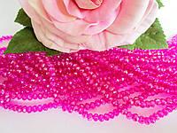 Бусины хрустальные 4х3 мм, рондель, 140-150 шт, цвет фуксия (с АВ напылением)