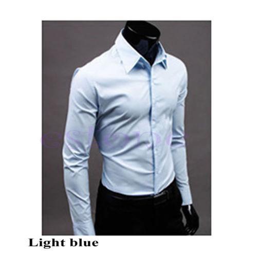Классическая мужская рубашка slim fit «Classic» (небесно-голубой)