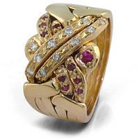 Мужское золотое кольцо головоломка с драгоценными камнями от WickerRing