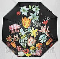 """Женский зонт складной полуавтомат """"Полевые цветы"""". Зонтик от дождя."""