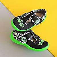 Тапочки на мальчика польские с зеленой подошвой 3F детская текстильная обувь р.20,21,24