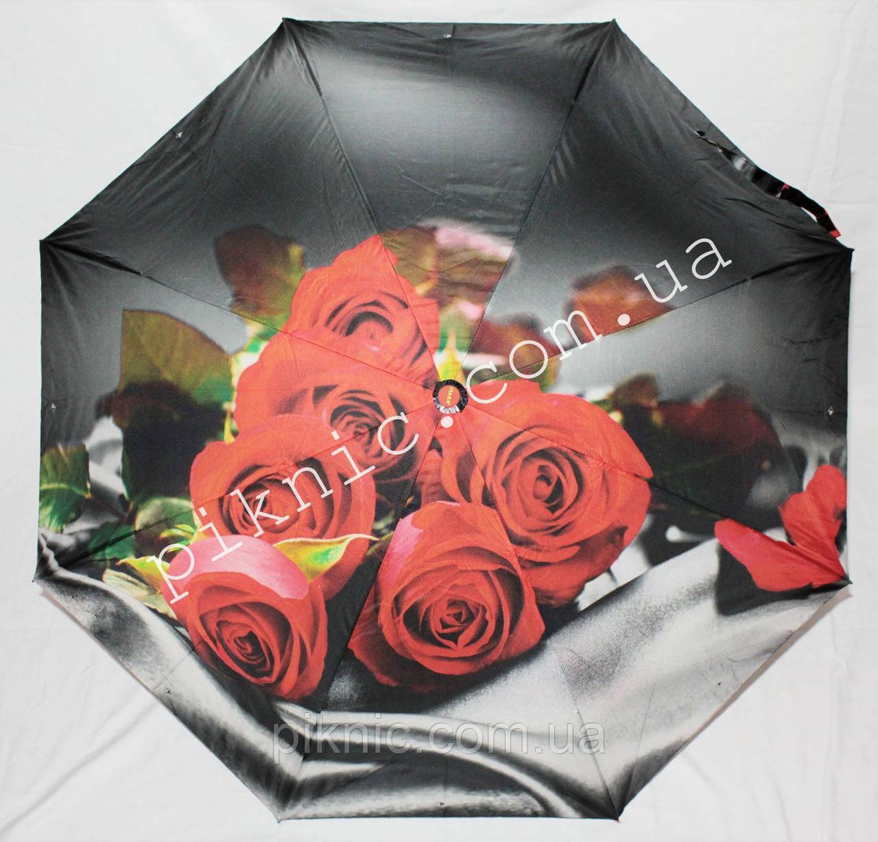 """Женский зонт складной автомат """"Розы"""". Зонтик от дождя."""