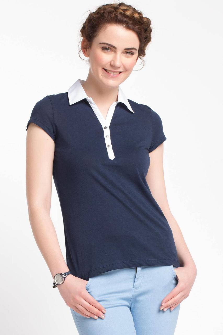 Синяя женская футболка De Facto / Де Факто с белым воротником
