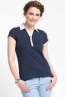 Синяя женская футболка De Facto / Де Факто с белым воротником, фото 1