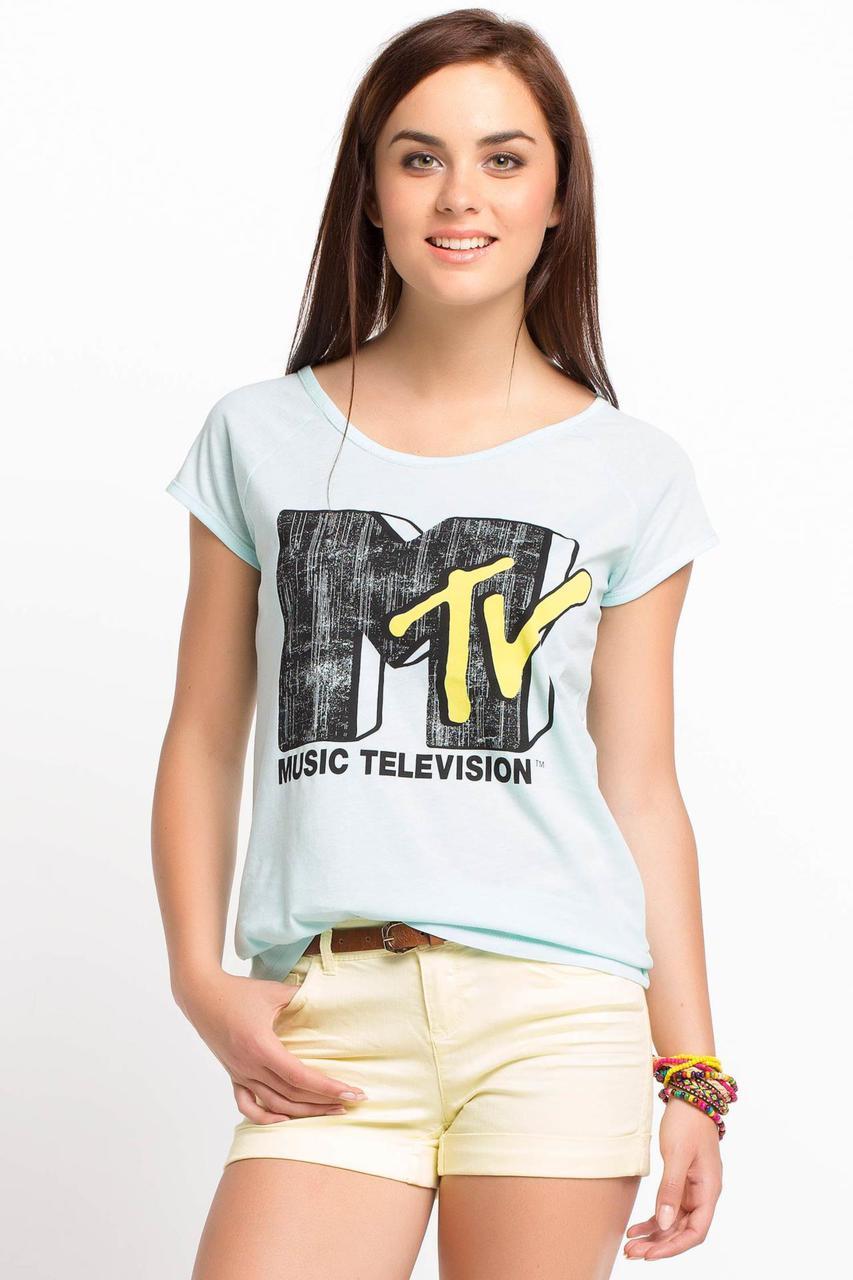 Светло-голубая женская футболка De Facto / Де Факто с надписью на груди Music television