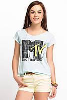 Светло-голубая женская футболка De Facto / Де Факто с надписью на груди Music television, фото 1