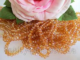 Бусины хрустальные 4х3 мм, рондель, 140-150 шт, цвет светло-коричневый (с АВ напылением)