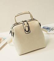 Рюкзак сумка женский под кожу крокодила с застежкой саквояж (молочный), фото 1