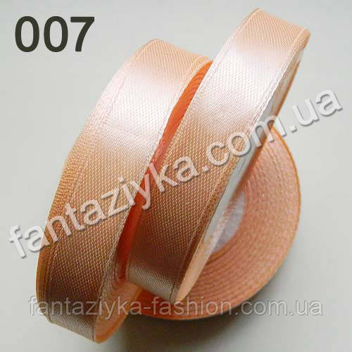 Лента атласная для рукоделия 1,2 см, светло-персиковая 007