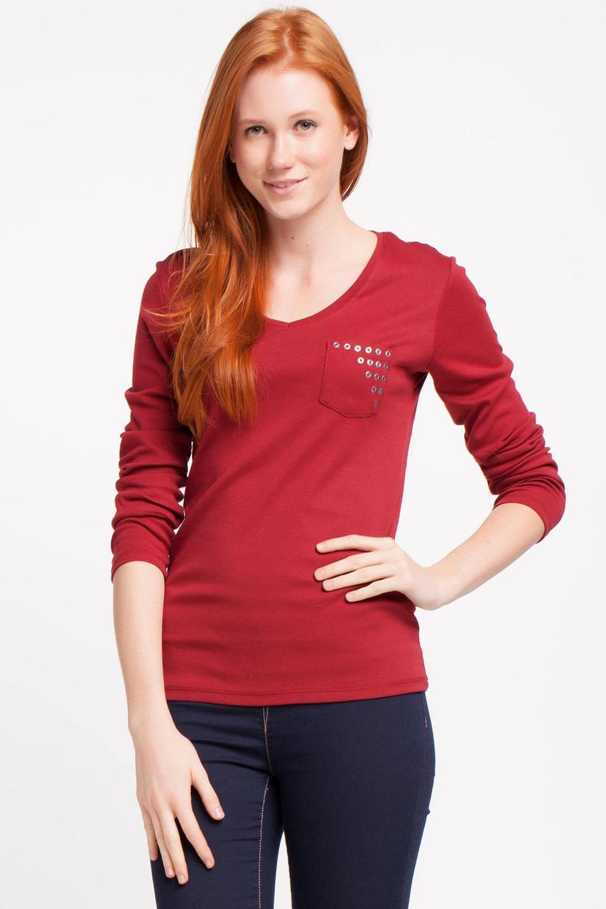 Красная женская кофточка  De Facto / Де Факто с карманом на груди