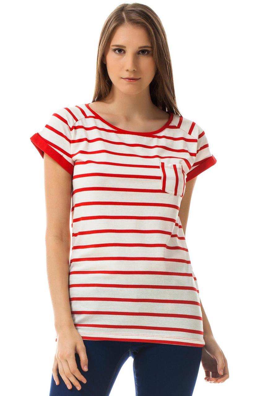 Белая женская футболка De Facto / Де Факто в красные полоски с карманом на груди