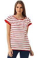 Белая женская футболка De Facto / Де Факто в красные полоски с карманом на груди, фото 1