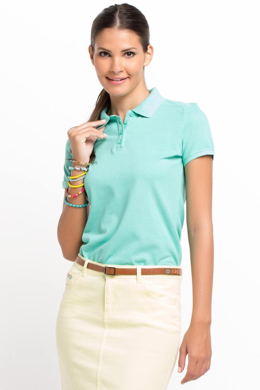 Голубая женская футболка De Facto / Де Факто с воротником