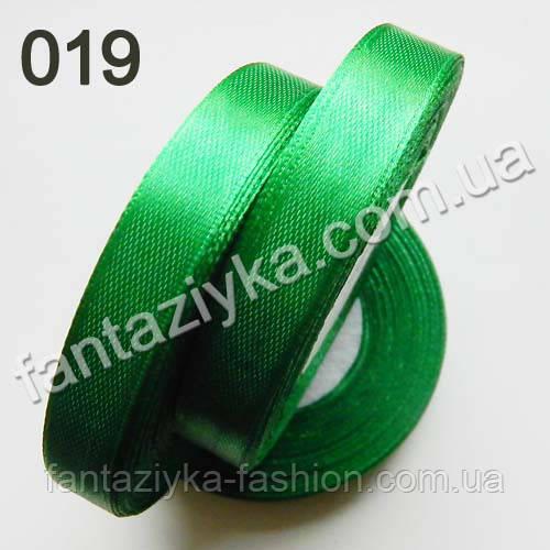 Лента атласная для рукоделия 1,2 см, зеленая 019