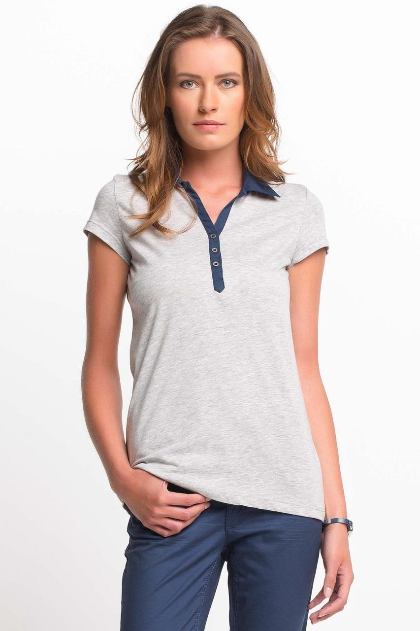 Серая женская футболка De Facto / Де Факто с синим воротником